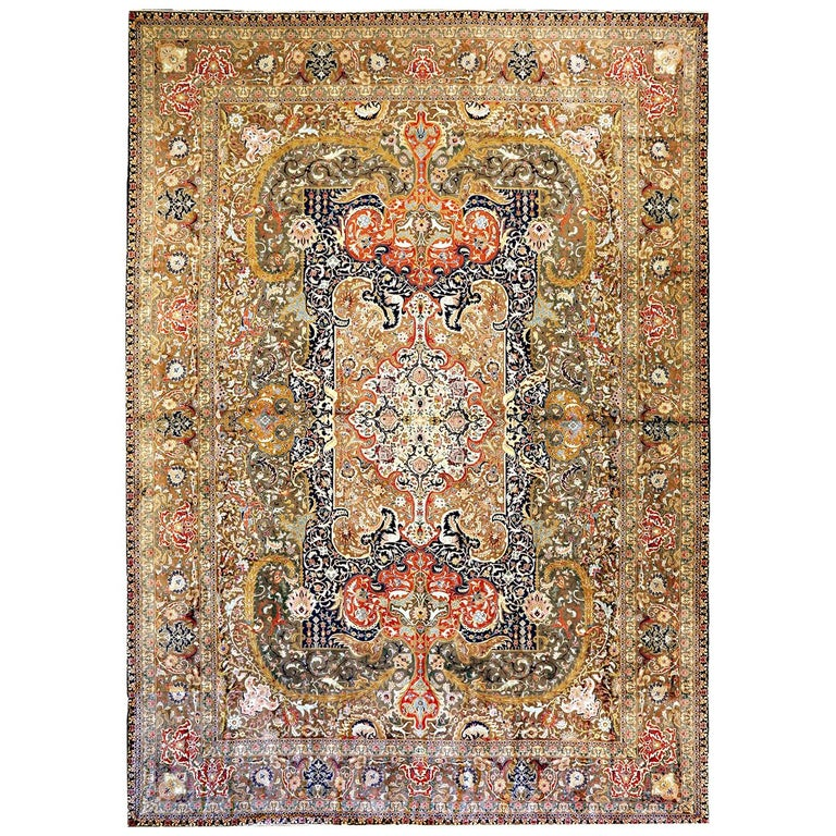 20th Century Antique Oversize Persian Tabriz Rug with Colorful Floral Details For Sale