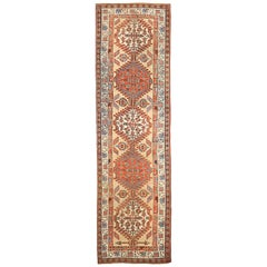 20th Century Antique Persian Azerbaijan Runner Rug with Red and Ivory Medallions