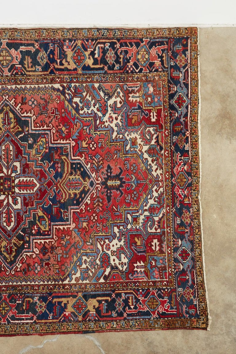 Hand-Knotted 20th Century Antique Persian Heriz Carpet For Sale
