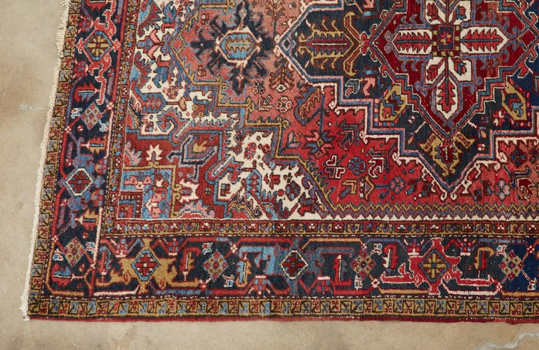 Wool 20th Century Antique Persian Heriz Carpet For Sale