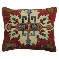 20th Century Antique Persian Heriz Serapi Lumbar Wool Rug Pillow