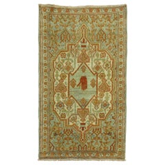 20th Century Antique Persian Oriental Rug Mat Size Rug with a Hand Gesture
