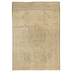 20th Century Antique Persian Tabriz Rug with Black & Brown Flower Motifs