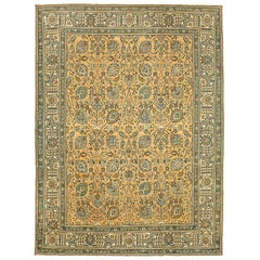 20th Century Antique Persian Tabriz Rug with Brown & Blue All-Over Floral Detail