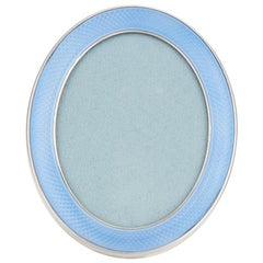 20th Century Antique Photo Frame in Sterling Silver and Light Blue Enamel
