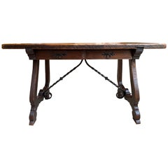 20th Century Antique Spanish Country Carved Oak Desk Writing Table Catalan Iron