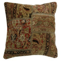 20th Century Antique Tabriz Square Size Patchwork Style Rug Pillow