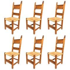 20th Century Antique Tuscan Walnut Set Six Chairs Stuffing Handmade