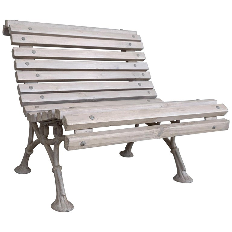 Awesome 20Th Century Antique White Garden Bench With Wood Slabs And Cast Iron Legs Uwap Interior Chair Design Uwaporg