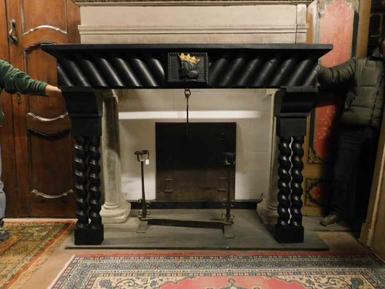 20th century antique wood lacquered fireplace with goldened king face, Italian, 1920.