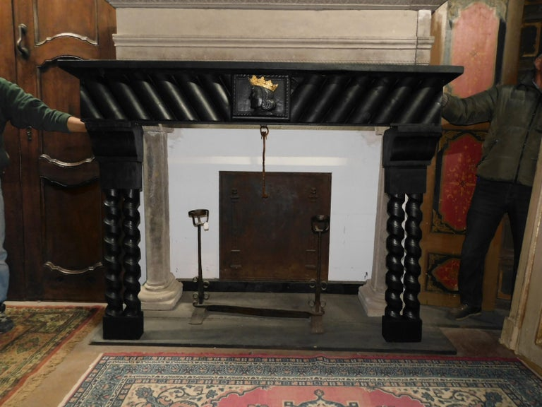 Early 20th Century 20th Century Antique Wood Lacquered Fireplace with Goldened King Face For Sale