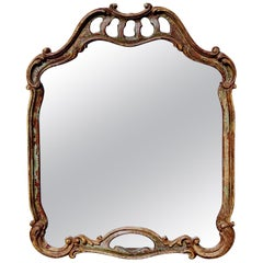 20th Century Antiqued Italian Scroll Mirror in Baroque Style