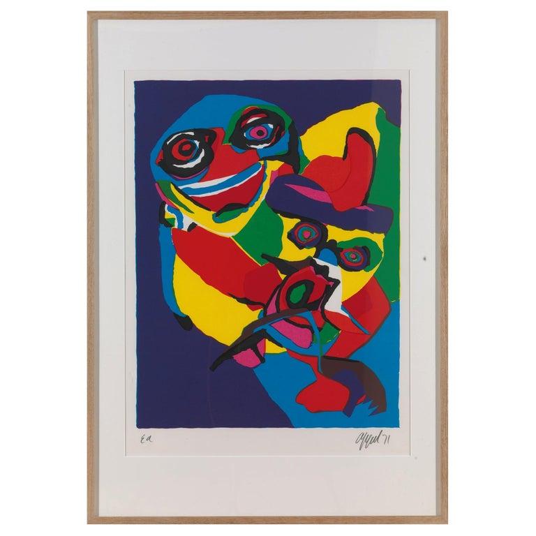 20th Century, Appel Karel, Masks-Artist Proof, Lithograph, Framed, Signed/Dated For Sale
