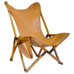 20th Century Armchair Tripolina by Viganò with Faux Leather Cover and Pocket