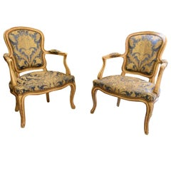 20th Century Armchairs France Louis-Philippe Ivory Lacquer Golden Threads, 1900s