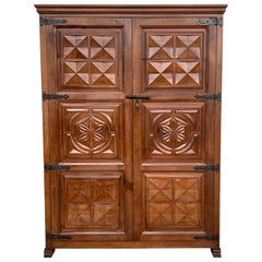20th Century Armoire, Kitchen Cabinet with Two Doors, Oak, Spain