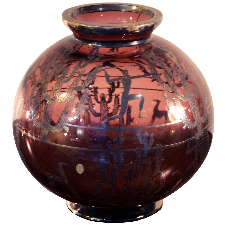 20th Century Arrigo Finzi Vase with Silver Foil with Motifs, 1930s