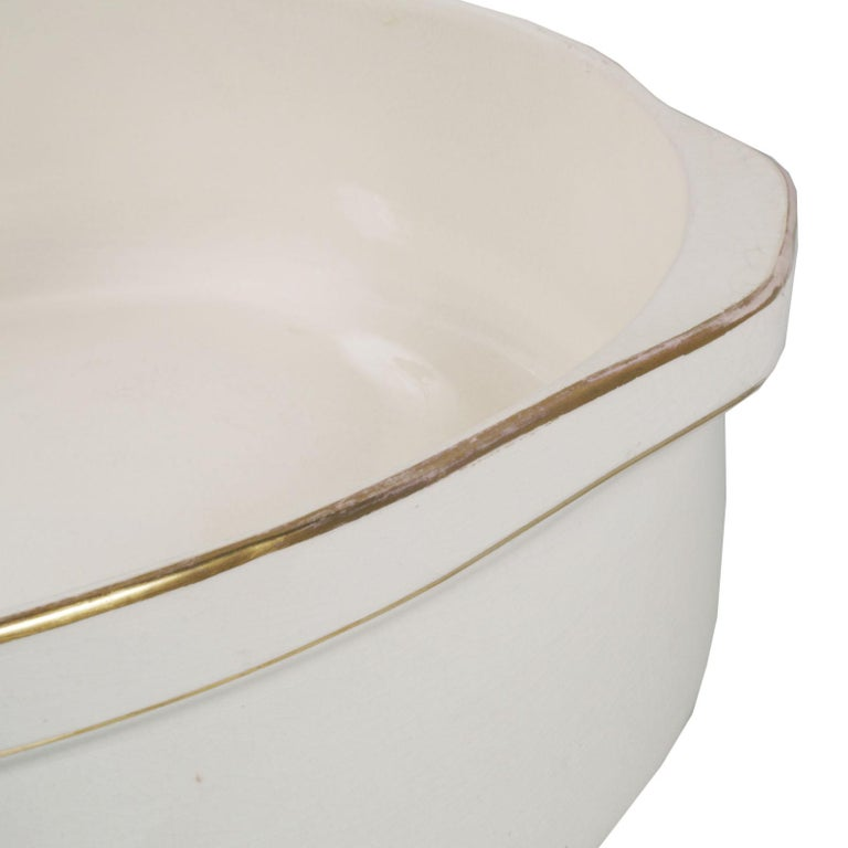 1930s circa glazed large ceramic basin by Villeroy & Boch , Mettlach , Germany External gilt profiling decorative . On the upper edge two handles are shaped to facilitate the movement of the piece . The piece is intact and free from breakage,