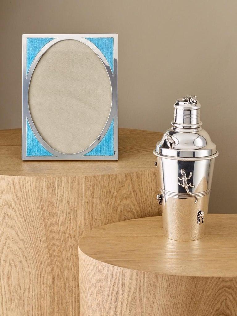 20th Century Art Deco Aqua Marine Sterling Silver & Guilloche Enamel Photo Frame For Sale 2