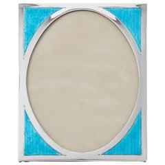 20th Century Art Deco Aqua Marine Sterling Silver & Guilloche Enamel Photo Frame