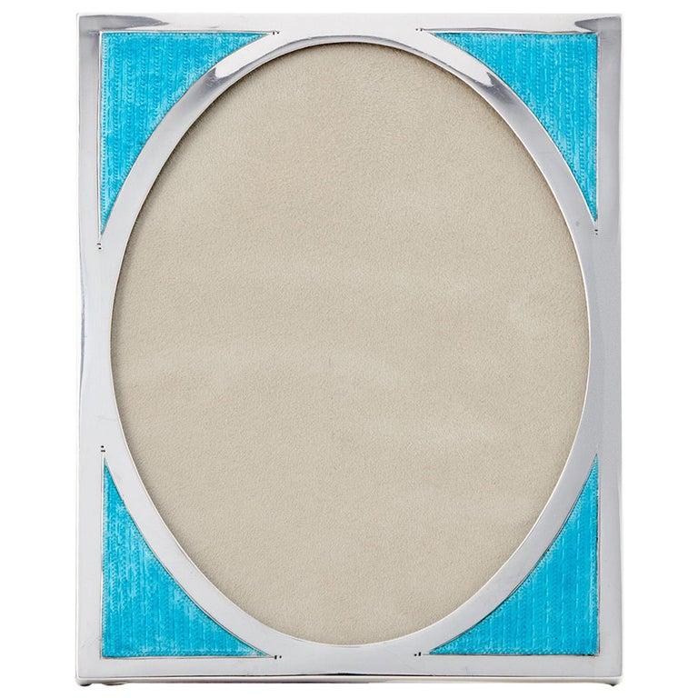 20th Century Art Deco Aqua Marine Sterling Silver & Guilloche Enamel Photo Frame For Sale