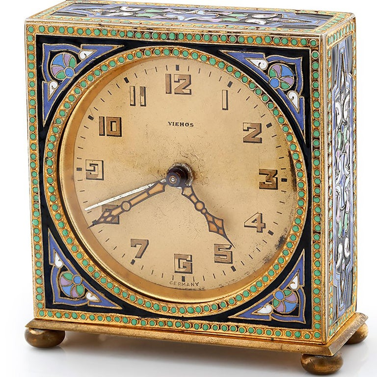 1930th Art Deco brass Enamel Alarm Clock Made in Germany Width: 2.5