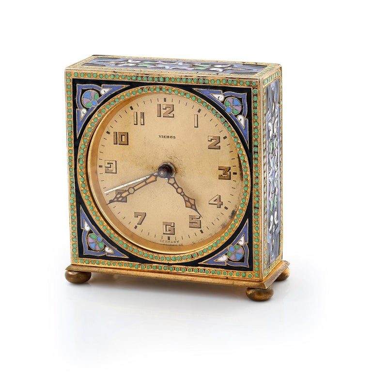 Women's or Men's 20th Century Art Deco Brass Enamel Vintage Alarm Clock For Sale