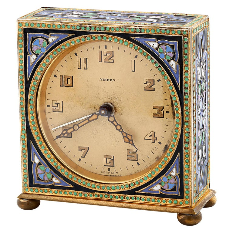 20th Century Art Deco Brass Enamel Vintage Alarm Clock For Sale