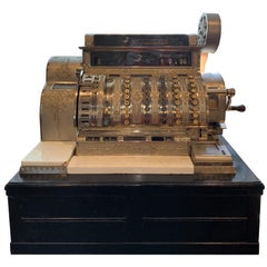 20th Century Art Deco Brass Plated National Cash Register from Denmark, 1920s