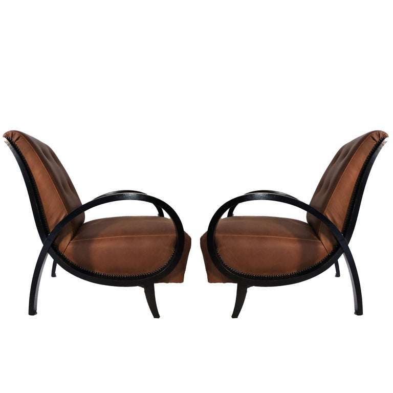 Art Deco Black ebonized wood and brown leather Italian Armchairs, 1930s
