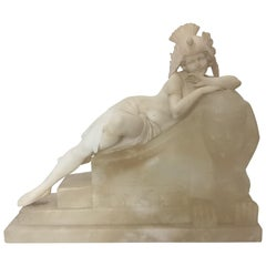 20th Century Art Deco Fantasy Sculpture / Lamp of a Lady on a Sphinx