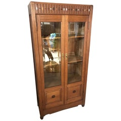 20th Century Art Deco French Oak and Beveled Glass Vitrine, 1930s