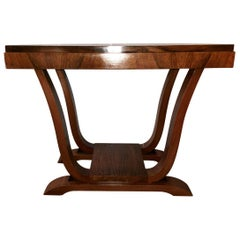 20th Century Art Deco French Rectangular Side Table in Walnut