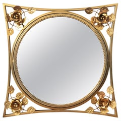 20th Century Art Decó Gold Gilt Metal Mirror with Beautiful Corners Fleurs