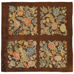 20th Century Art Deco Hand-Knotted Savonerie Square Rug Wool Brown Floral
