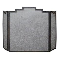 20th Century Art Deco Iron Three-Panel Firescreen