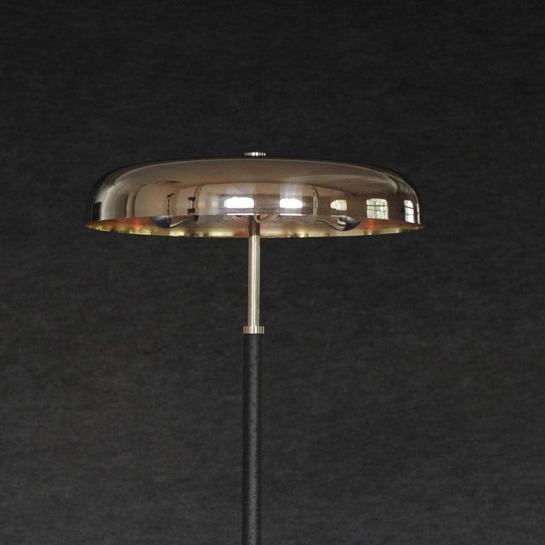 20th Century Art Deco Leather Clad Floor Lamp For Sale 4