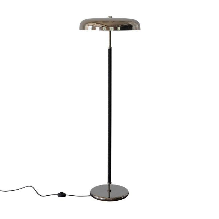 German 20th Century Art Deco Leather Clad Floor Lamp For Sale