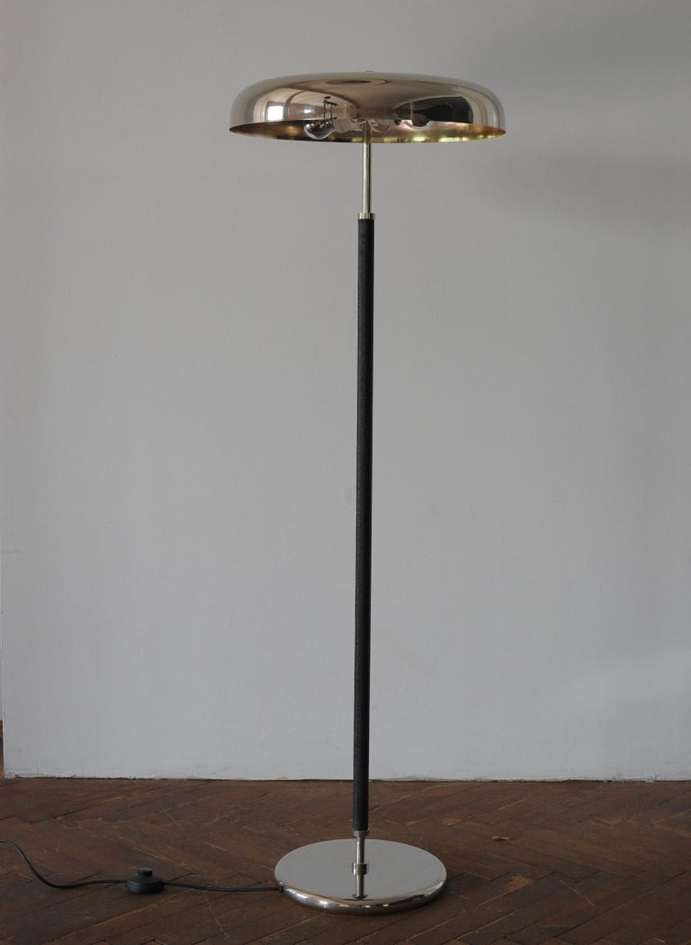 Plated 20th Century Art Deco Leather Clad Floor Lamp For Sale