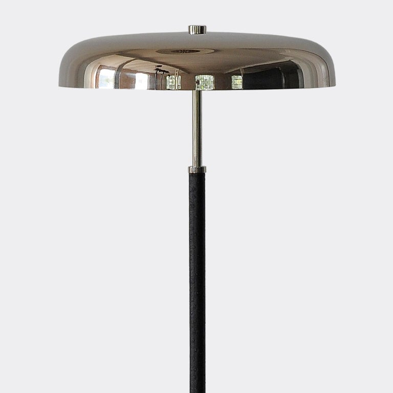 20th Century Art Deco Leather Clad Floor Lamp In Good Condition For Sale In BUDAPEST, HU