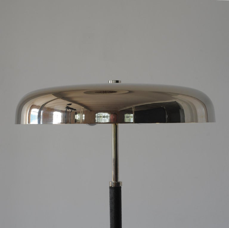 Late 20th Century 20th Century Art Deco Leather Clad Floor Lamp For Sale