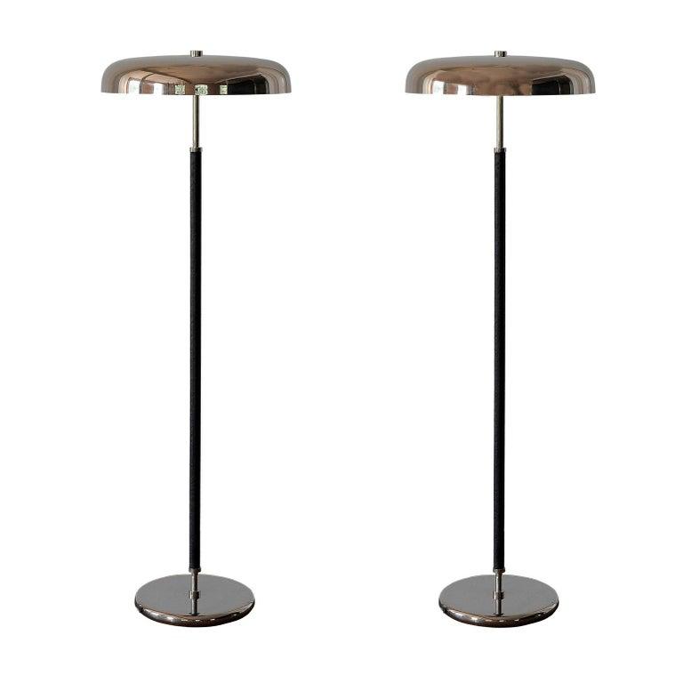 20th Century Art Deco Leather Clad Floor Lamp For Sale