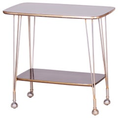20th Century Art Deco Mahogany Trolley Table, Brass, Excellent Condition, 1950s