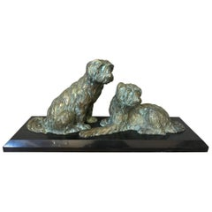 20th Century Art Deco Marble and Bronze Georges Lavroff Dogs Sculpture