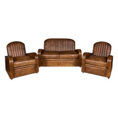 20th Century Art Deco Pair of Leather Tub Chairs and Sofa, circa 1920