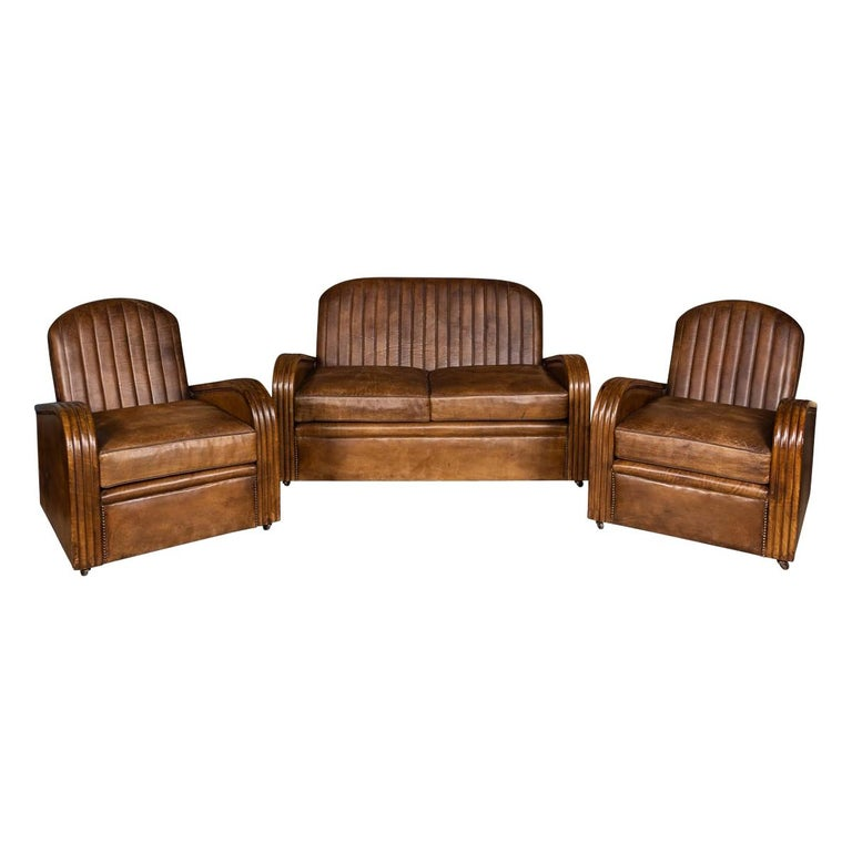 20th Century Art Deco Pair of Leather Tub Chairs and Sofa, circa 1920 For Sale