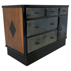 20th Century Art Deco Parchment and Walnut Cabinet