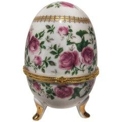 20th Century Art Deco Porcelain and Gilt Bronze Egg
