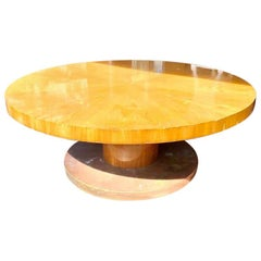 20th Century Art Deco Revival Elm Round Conference Table