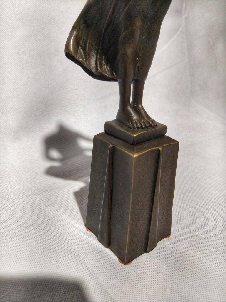 Greco Roman 20th Century Art Deco Sculpture Figure Bronze Nymph Daphne By Milo For Sale